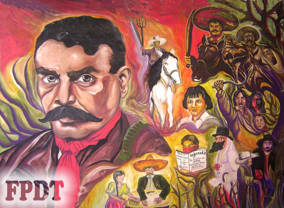 Borran mural hist rico del frente de pueblos en defensa de for Emiliano zapata mural