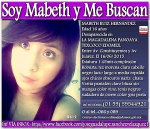 Otra jovencita desaparecida en Texcoco