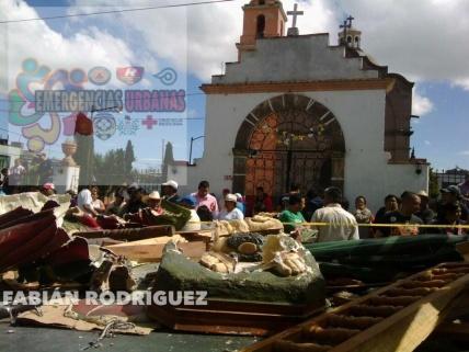 La explosión fue frente a la capilla en el Barrio San Juan en Calimaya