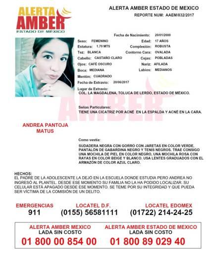 ALERTA AMBER DE ANDREA PANTOJA EN JPG