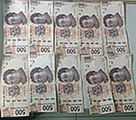Cinco mil pesos en efectivo